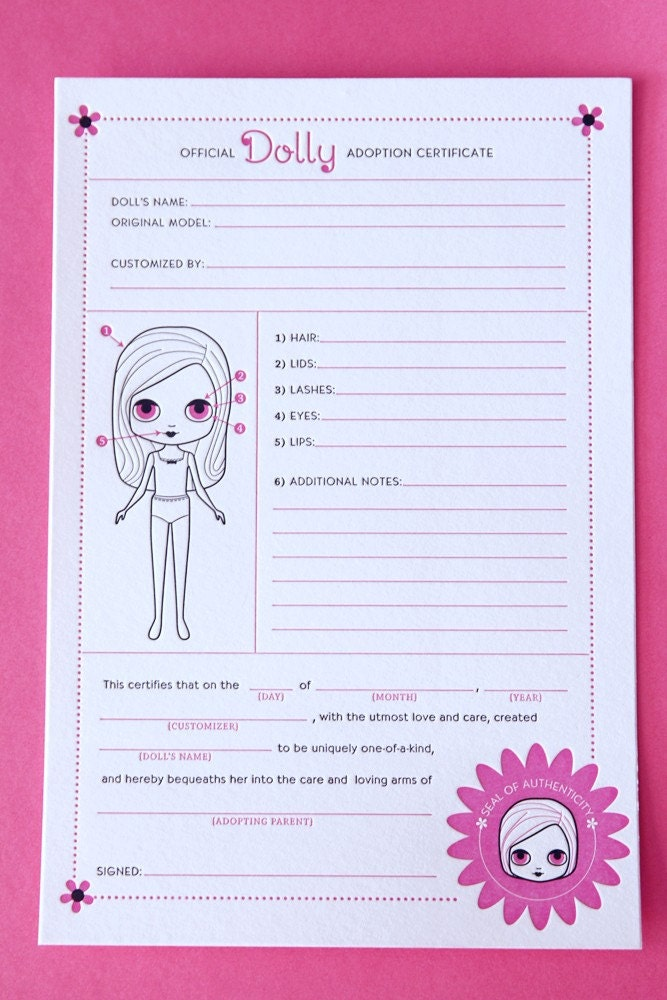Adoption certificate for dolls for Real birth certificate template