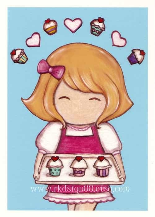 rkdsign88.blogspot.com etsy cupcake blonde  pdf fun illustration nursery drawing art print cute whimsical reproduction