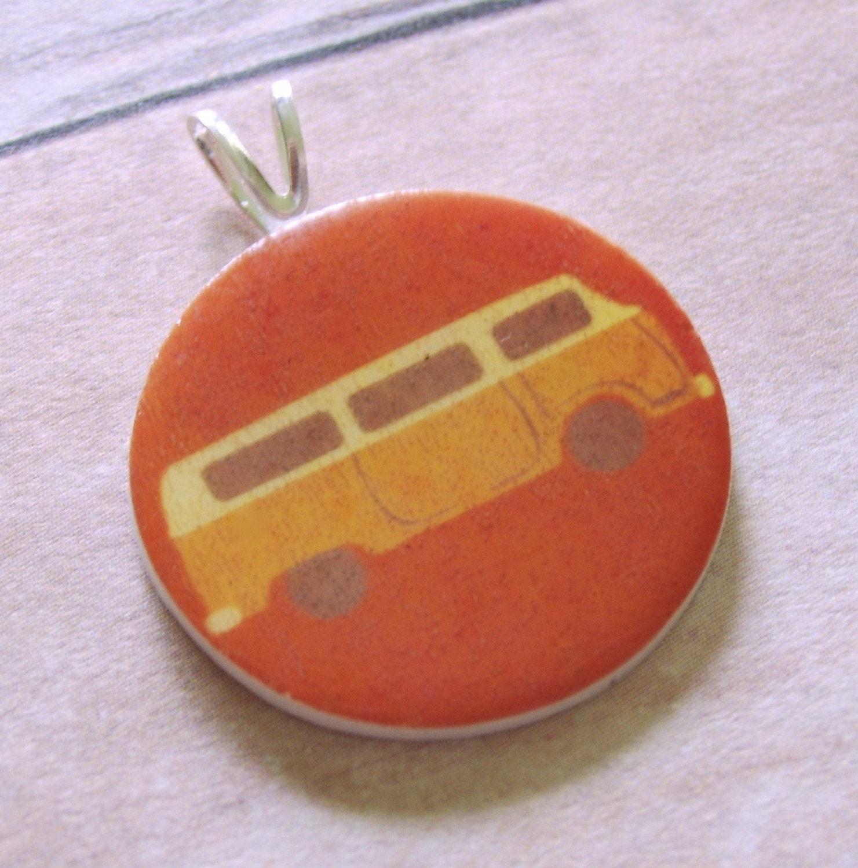 Orange VW Bus Mini Bail Pendant. From Missbluebirdandoscar