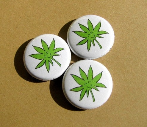 Happy WEED - 1 Inch Pinback Button