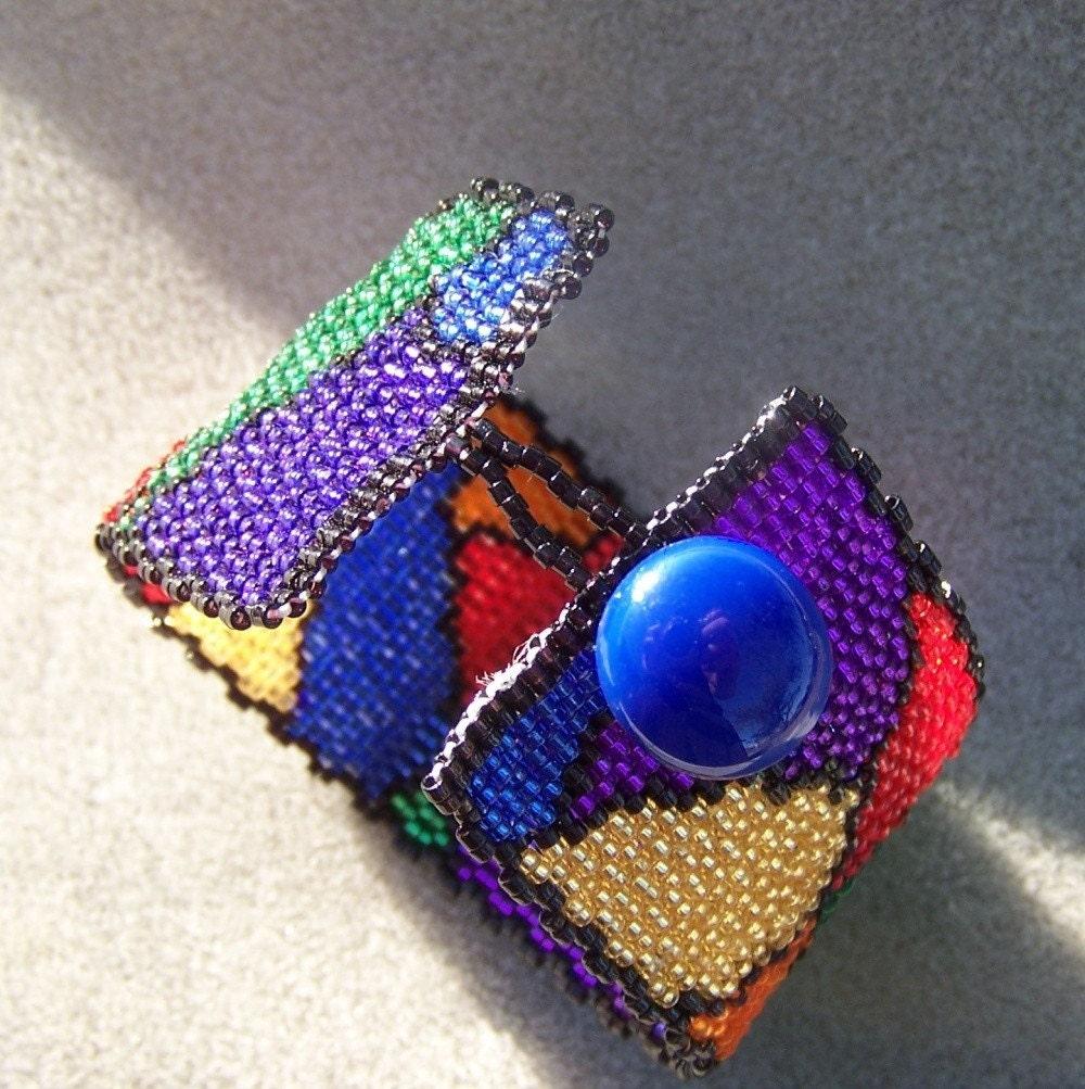 Grandma Marilyn Stained Glass Beaded Cuff Bracelet
