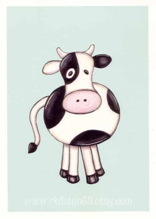 rkdsign88.blogspot.com etsy animal moo cow painting fun illustration nursery drawing art print cute whimsical reproduction