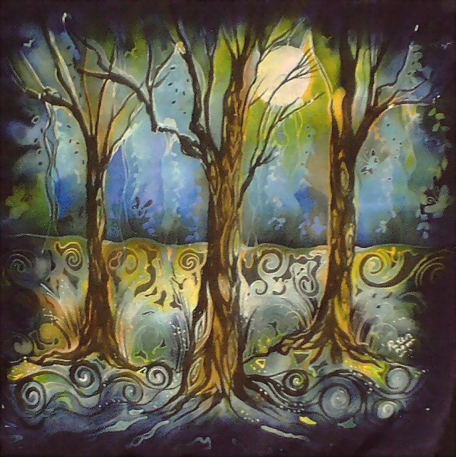 paintings of trees at night. Silk Painting Signed Trees