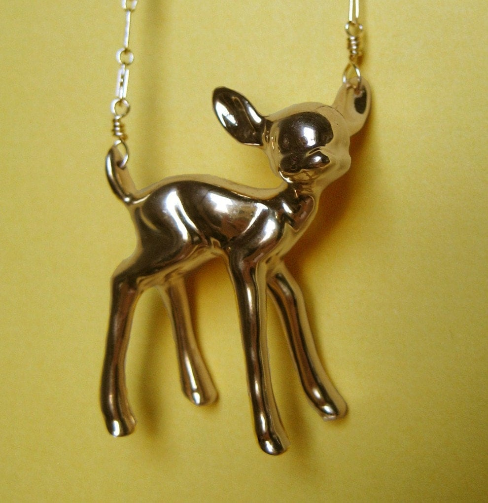 Standing Fawn Necklace (GOLD PLATE)