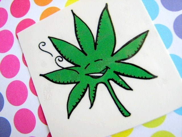 Happy WEED Temporary Tattoos (Pack of 3). From Buttonhead