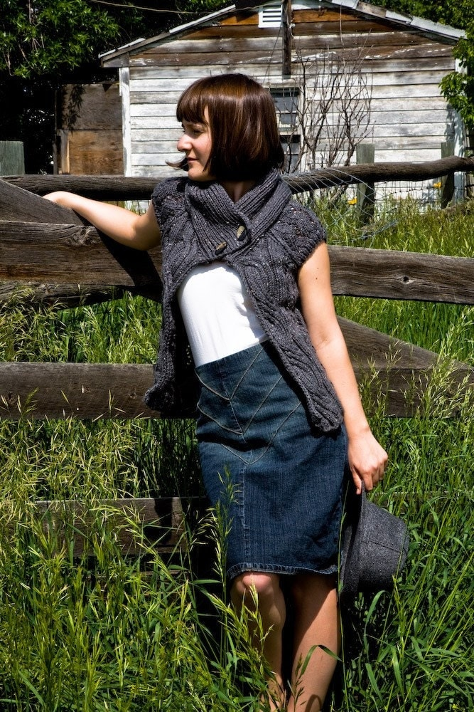 Open Tweed Cardigan in Gray from Woolibear on Etsy