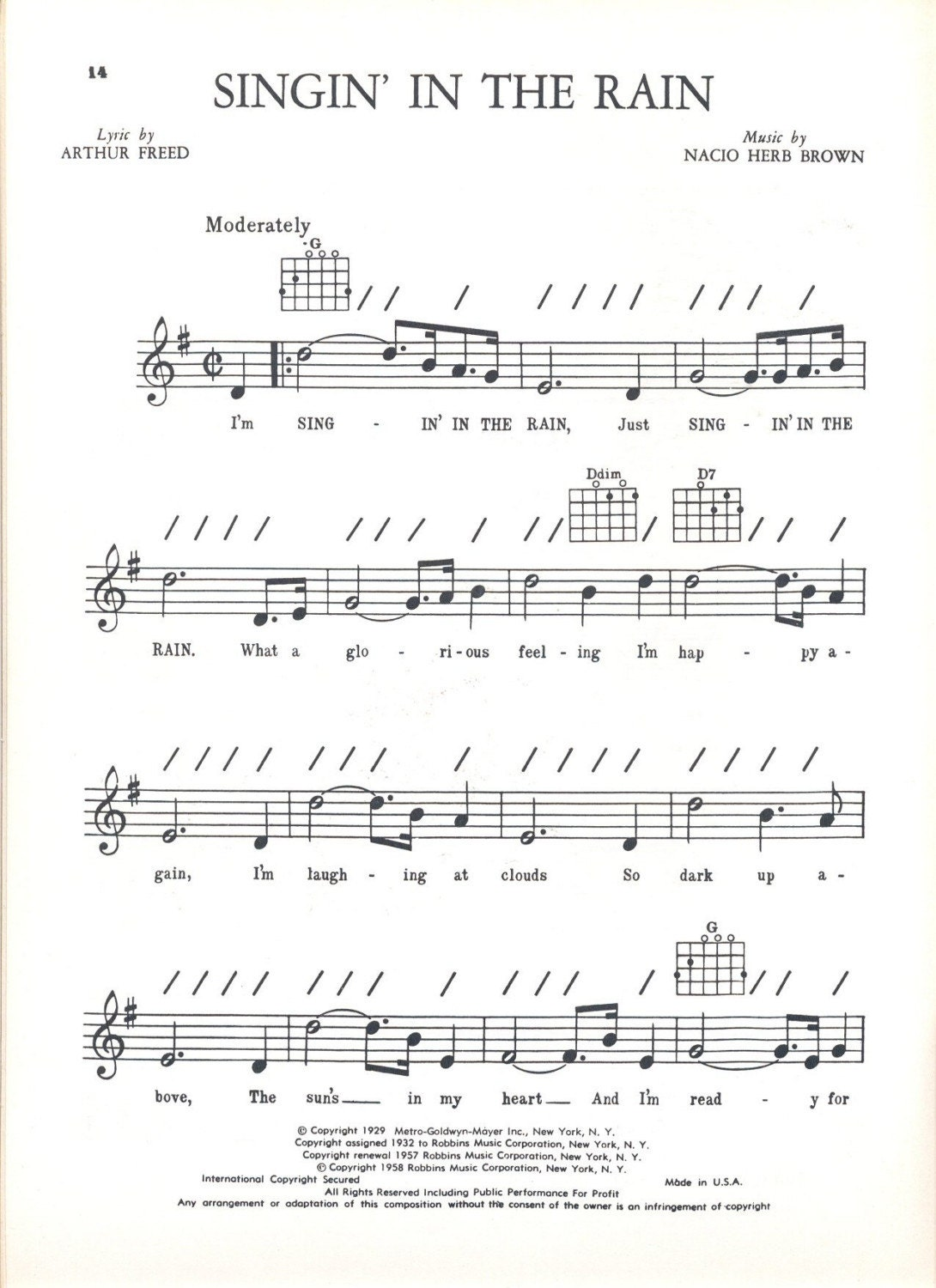 singing in the rain chords pdf