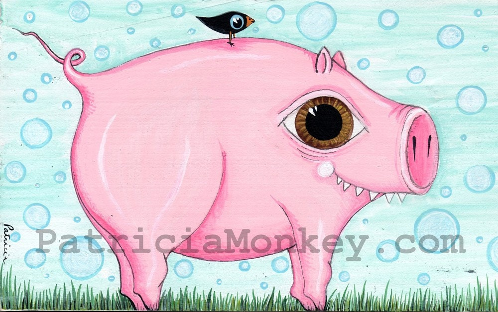 Polka Dot Sky Pig Original Painting