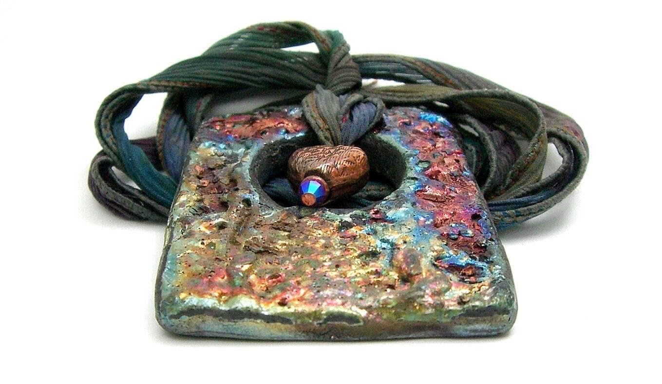 Beyond Texture Raku Pendant... Raku Ceramic Jewelry by MAKUstudio