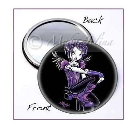 Gothic Purple Tattoo FAiry POCKET MIRROR Fae Art Monica by Myka Jelina