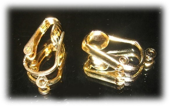 convert clip earrings to pierced. Gold Plated Pierced Look Clip-On Earring converters convert hook earwire to