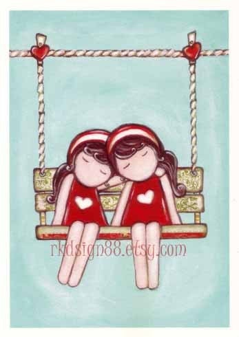rkdsign88.blogspot.com etsy twin love sisters day dream painting fun illustration nursery drawing art print cute whimsical reproduction