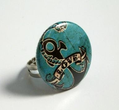 Anchor Sparrow Tattoo Choose Ring