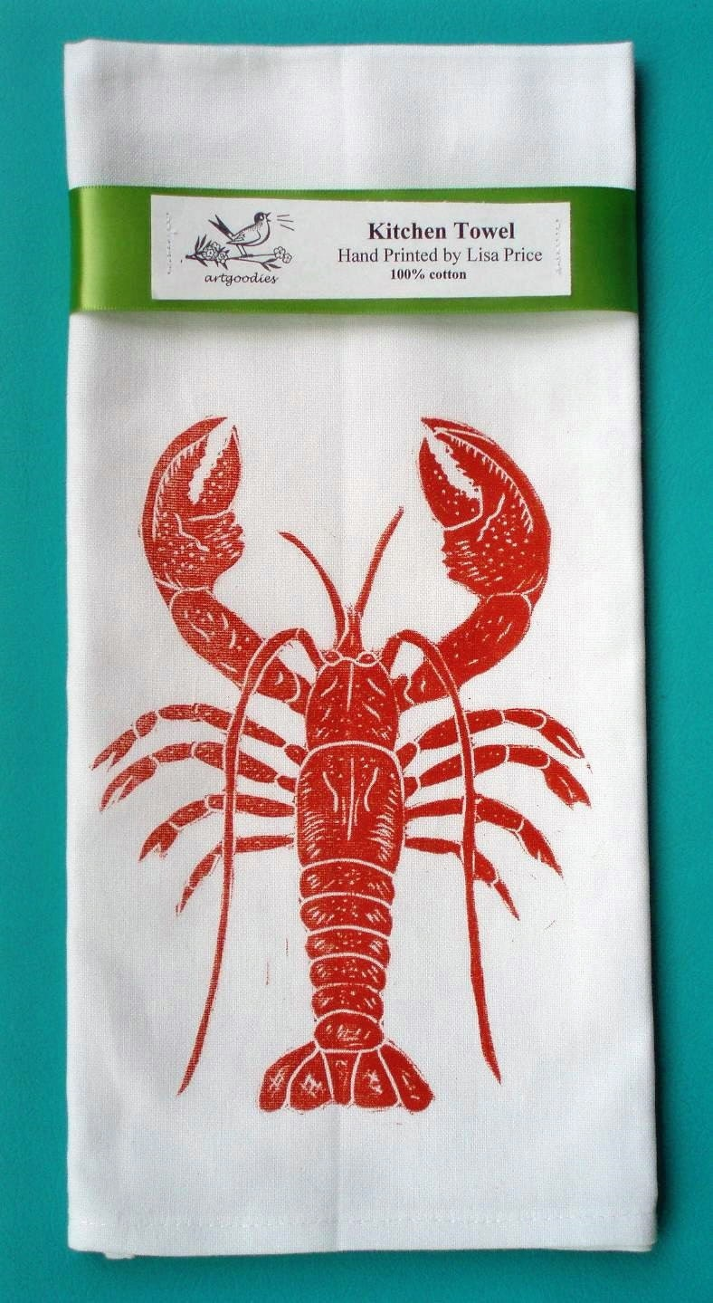 Dont worry, theres still plenty of time left for lobster boils at the beach! This fantastic artgoodies lobster block print towel is perfect for a beachy place and will remind you of great summertime fun year round!
