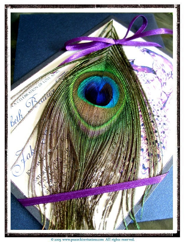 BEATRICE Peacock Themed Wedding Invitations in Purples and Navy
