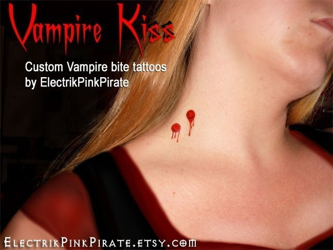Vampire Kiss Temporary blood bite wound tattoos. From ElectrikPinkPirate