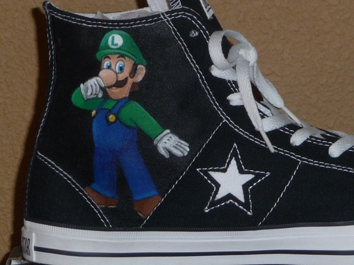 hightops. nes. nintendo. painted