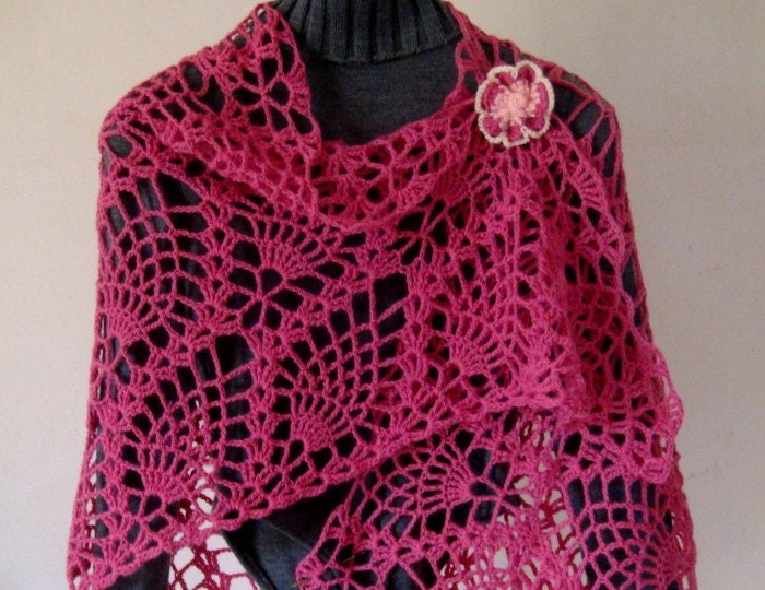 Crochet and Other Stuff: Tropical Shawl with fringe - free crochet