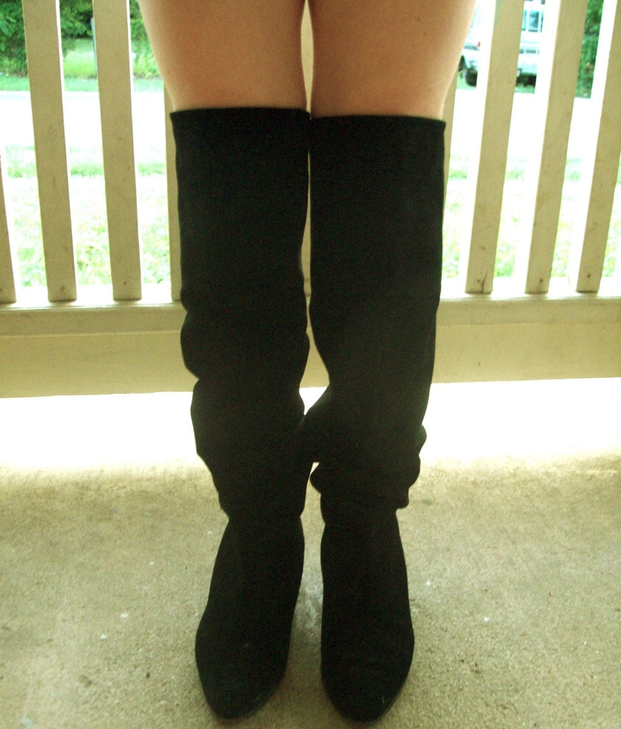 Vintage tall black leather thigh high OTK boots - 11 (10/13/2009)