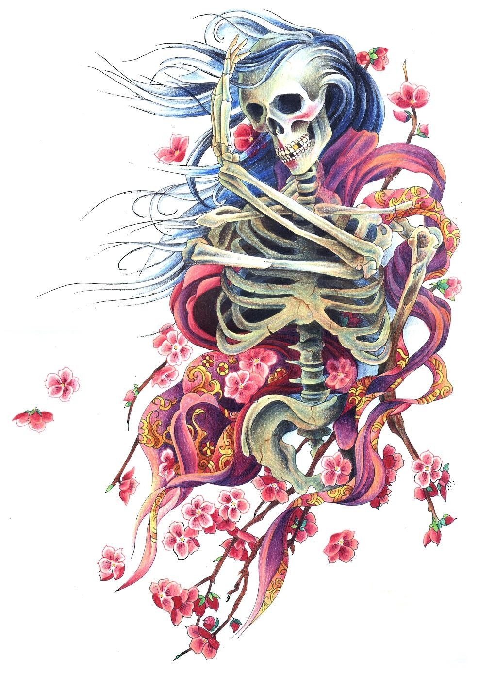 Beautiful Skeleton Geisha With Cherry Blossoms By Wengergirl