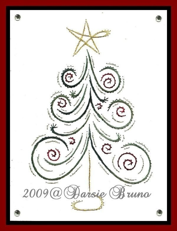 Christmas Embroidery Patterns Zentangle Christmas Tree Swirls Paper Greeting Cards ...