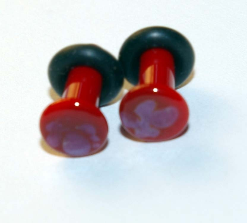 8g RED and PURPLE Glass ear plugs